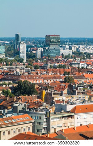 Aerial view of Zagreb center and modern business towers, urban skyline