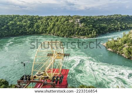 """Aero car"" (cable car) over Niagara River, Ontario Canada. Aero Car was designed by a Spanish engineer, Leonardo Torres Quevedo and has been in operation since 1916. - stock photo"