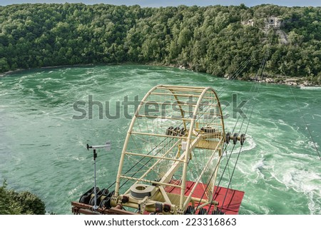"""Aero car"" (cable car) over Niagara River, Ontario Canada. Aero Car was designed by a Spanish engineer, Leonardo Torres Quevedo and has been in operation since 1916."
