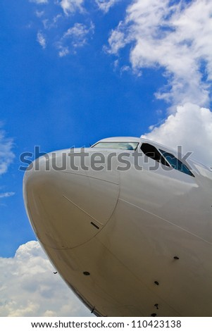 aeroplane ,Aircraft Airport parking - stock photo