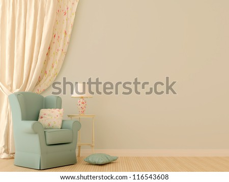 Against the background of tenderly blue walls are located a blue chair with a white decorative table, a lamp and Massive light curtains that complete the left side of the composition. - stock photo
