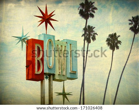 aged and worn vintage photo of bowling alley sign and palm trees                               - stock photo