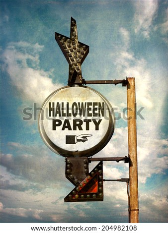 aged and worn vintage photo of  halloween party sign                            - stock photo