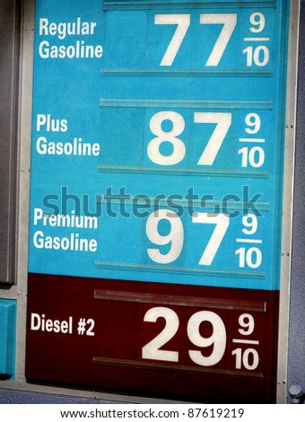 aged and worn vintage photo of low gasoline prices - stock photo