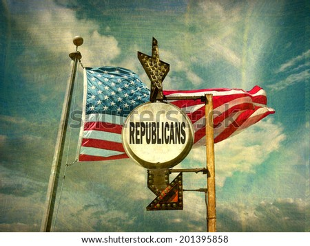 aged and worn vintage photo of republicans sign with american flag                             - stock photo
