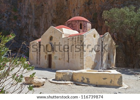 """Agiofarago"" gorge and an old church at Crete island in Greece - stock photo"