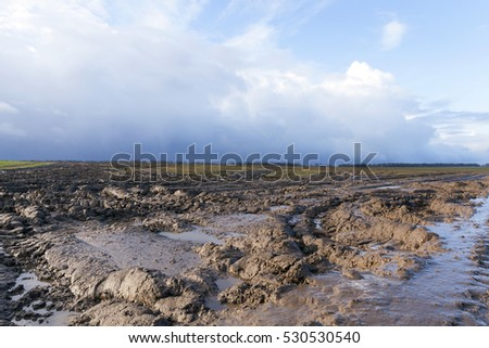 Agricultural field on which drove heavy vehicles. Ruts from the wheels in the mud, formed after the rain. Photo closeup. sky in the background during a cloudy weather