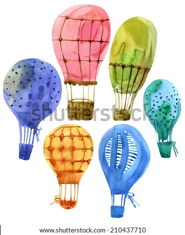 Air balloons watercolor illustration on a white.  - stock photo