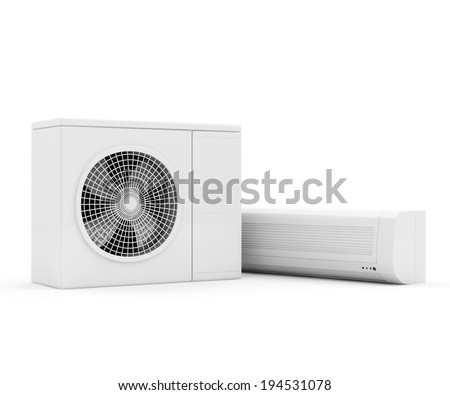 Air Conditioner System isolated on white background - stock photo