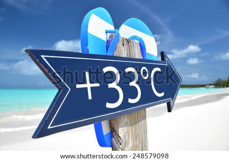 33 AIR TEMPERATURE beach sign - stock photo
