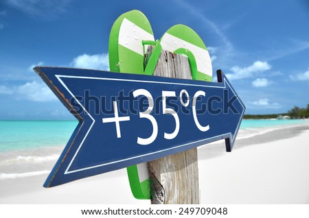 35 AIR TEMPERATURE beach sign - stock photo