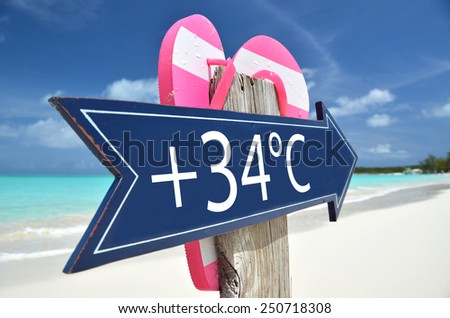 34 AIR TEMPERATURE beach sign - stock photo