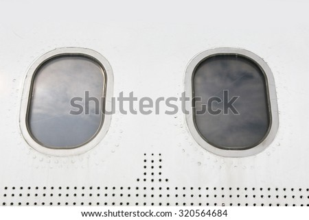 airplane body part, window - stock photo