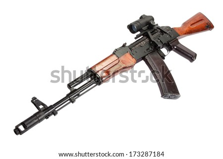 AK assault rifle with optical sight on white - stock photo
