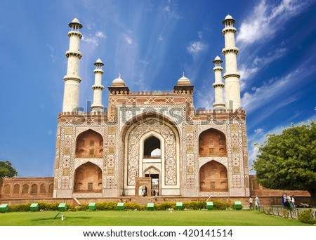 Akbar's Tomb , the one of the most famous Mughal  building. - stock photo