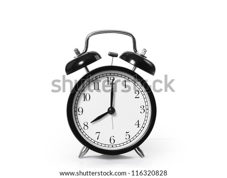 alarm clock  isolated on white background - stock photo