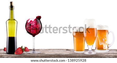 alcohol bar - beer,wine,champagne - stock photo
