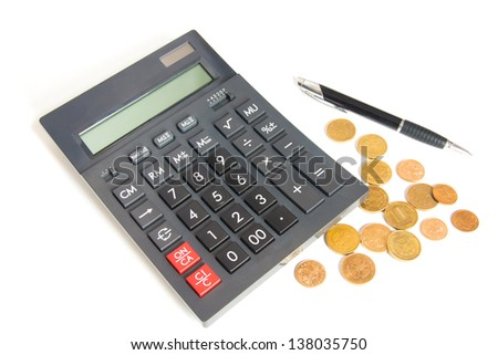 ���¡alculator, pen and coins close up isolated on white background.