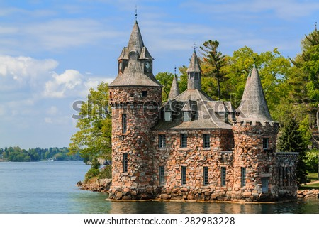 Alexandria Bay, NY May 17, 2015  gorgeous amazing view of vintage   Boldt Castle cold house  located on heart island
