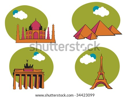 All Over the World Travel. Includes the icons of Acropolis, The pyramid of Kheops, Tag Mahal and Eiffel tower. - stock photo