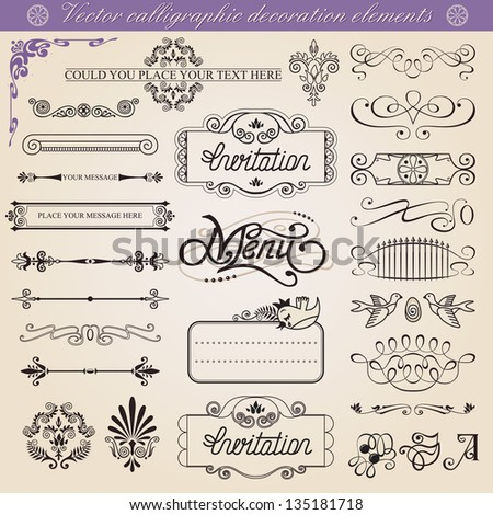 ���¡alligraphic decoration elements set, all elements isolated from background