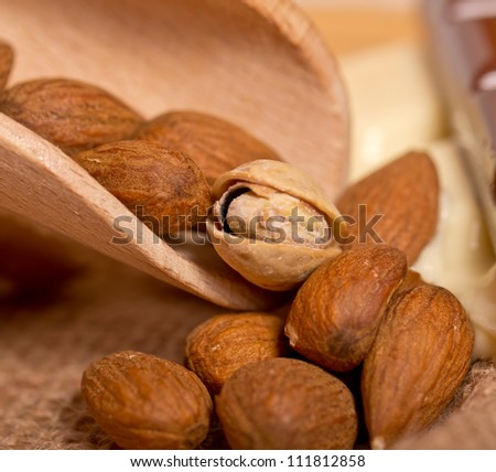 almonds and pistachios 	 - stock photo