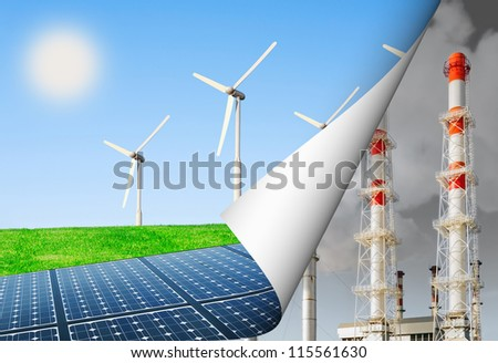 alternative energy and the environment, energy production update - stock photo