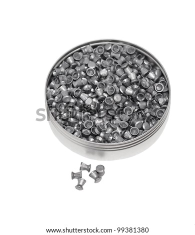 Aluminum can of lead pellets isolated on white, Diabolo pellets, - stock photo