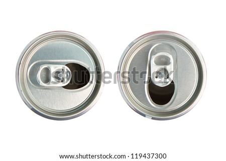 aluminum cola can on white background, view from the top