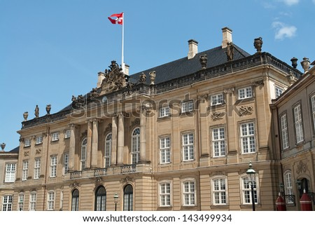 Amalienborg the Danish queen historical Palace in Copenhagen Denmark - stock photo