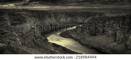 Amazing View of the beginning Of Grand canyon at page arizona - stock photo