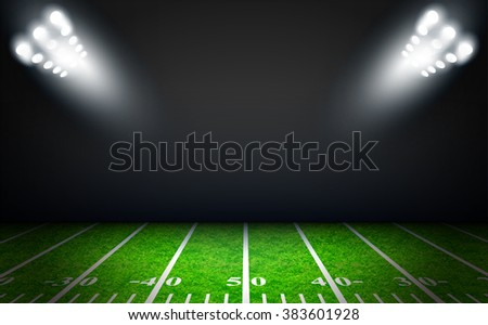 American Football field with bright stadium lights vector design - stock photo