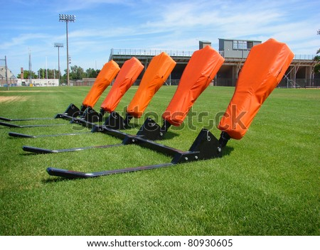 American football practice blocking sled - stock photo