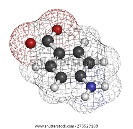 4-aminobenzoic acid (PABA, aminobenzoate) molecule.  Atoms are represented as spheres with conventional color coding: hydrogen (white), carbon (grey), oxygen (red), nitrogen (blue). - stock photo