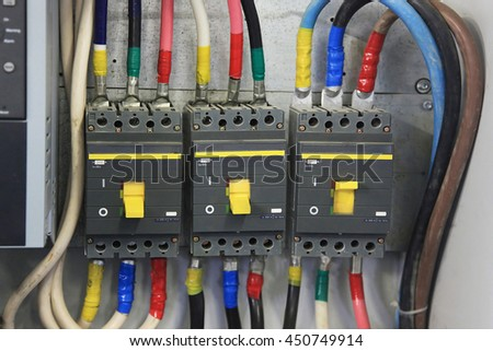 200 Amp Circuit Breaker three phase. Circuit breaker used on items such as a residential electric motors, pumps and other power equipment. - stock photo