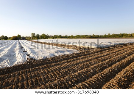 an agricultural field on which material as the greenhouse lies - stock photo