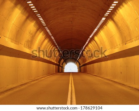 An empty  car tunnel,                         - stock photo
