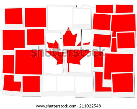 An illustration of the flag of Canada, photo frame - stock photo
