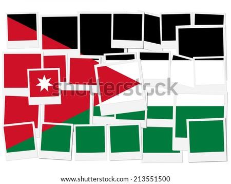 An illustration of the flag of Jorgan, photo frame  - stock photo