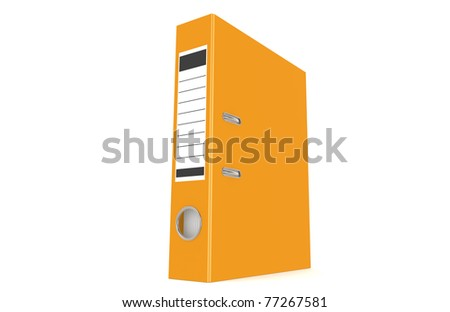 An orange ring binder isolated on a white background - stock photo