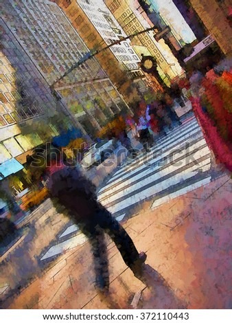 An original photograph of people on a busy New York City street transformed into a colorful painting