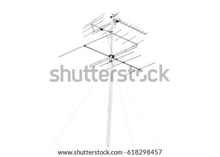 analog collective TV-antenna white isolated