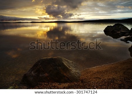 anazibg sunset on the lake              - stock photo