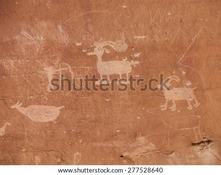 ancient, fremont culture  petroglyphs in sego canyon, utah       - stock photo