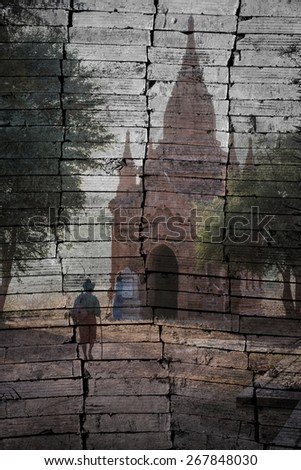 """ancient pagoda "".The brick painting concept"