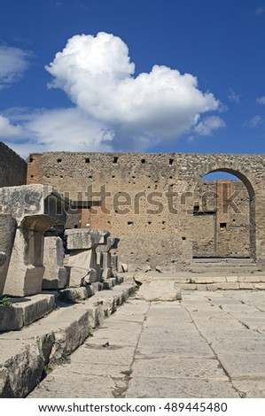 Ancient Roman city of Pompeii, which was destroyed and buried by ash during the eruption of Mount Vesuvius in 79 ad