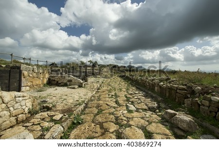 ancient roman road made with stones