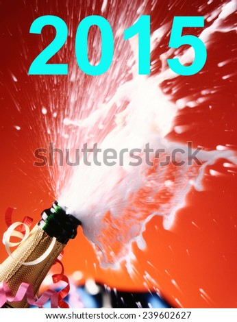 2015 and Close-up of champagne.