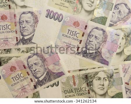 1000 and 2000 Czech koruna CZK (legal tender of the Czech Republic) banknotes - stock photo