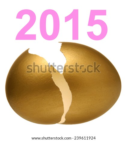 2015 and Gold egg. - stock photo